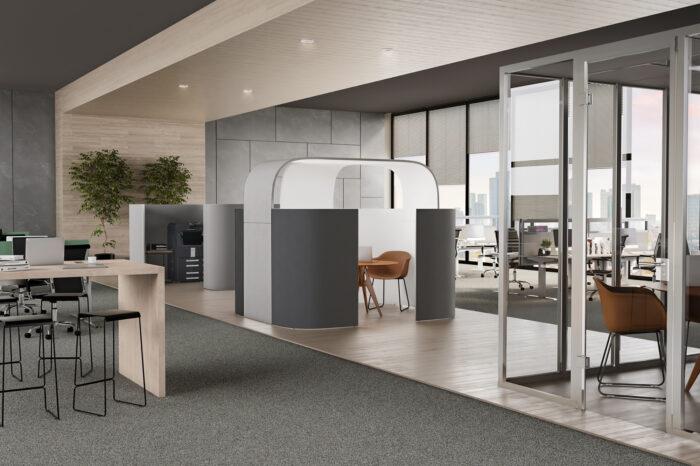 Decato Discreto Raum in Raum System als Akustiklösung für Mittelzonen für Schallschutz im Büro