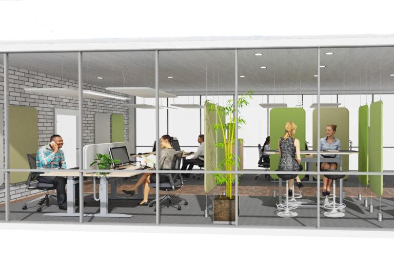 Planung Großraumbüro als Inspiration für eine Akustiklösung mit Schallabsorber im Büro