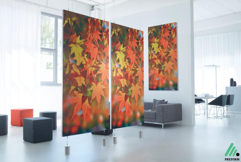 Bildergalerie mit Decato ModulScene abgehängter Raumteiler als Akustiklösung für Ihr Büro