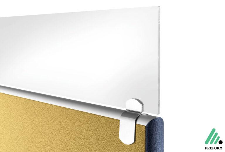 Bildergalerie mit Formfac4 Tischaufsatzwand Sichblende Glas als Akustiklösung für Ihr Büro