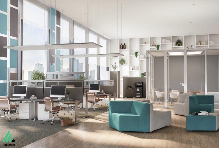 Bildergalerie CGI Akustiklösung für Großraumbüros