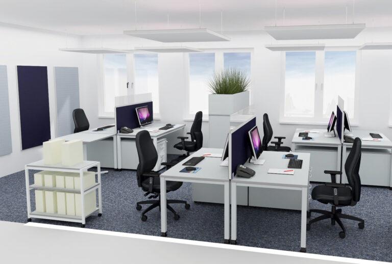 Planung Team-und Gruppenbüro als Inspiration für eine Akustiklösung mit Schallabsorber im Büro