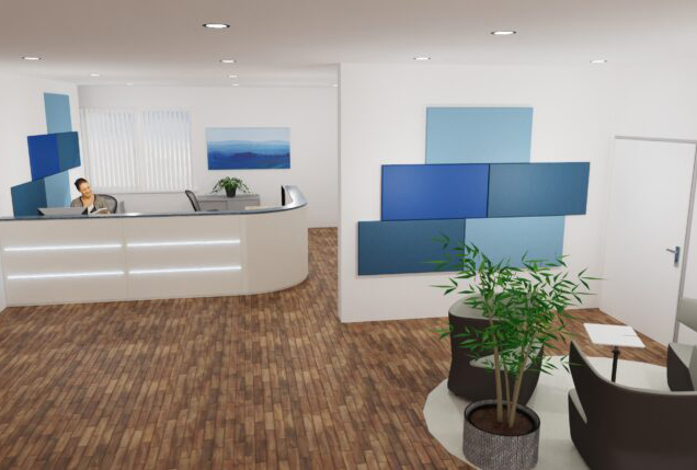 Planung Empfang als Inspiration für eine Akustiklösung mit Schallabsorber im Büro