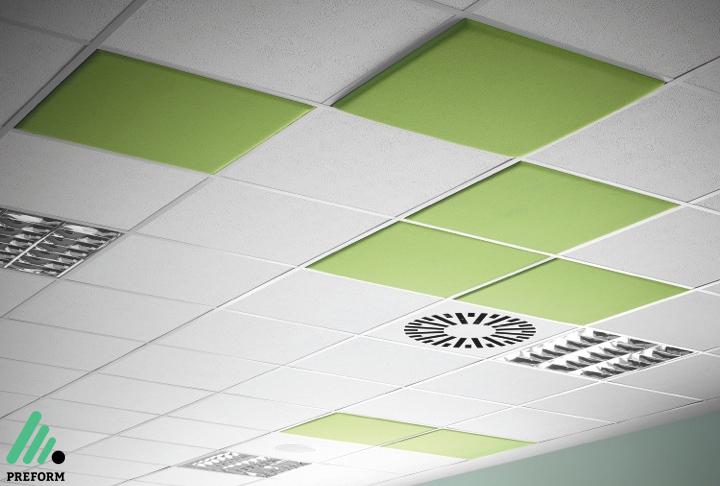 Bildergalerie mit Decampo Deckenabsorber in grün