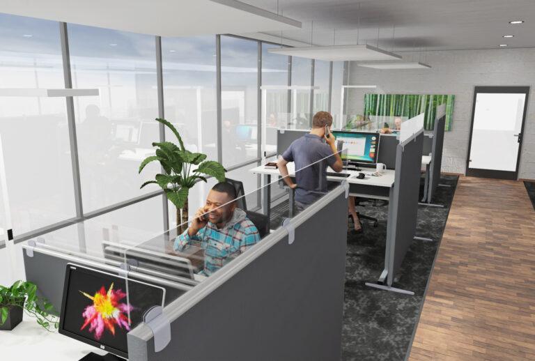 Planung eines Call Center als Inspiration für eine Akustiklösung mit Schallabsorber im Büro