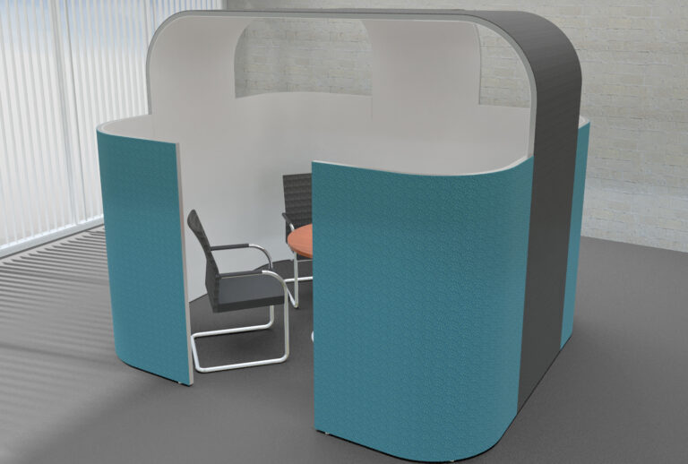 Planung einer Mittelzone als Inspiration für eine Akustiklösung mit Schallabsorber im Büro