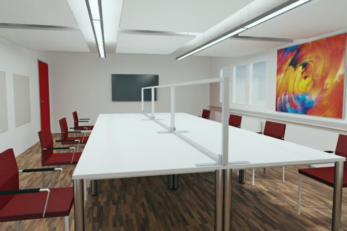 Planungsbeispiel Konferenzraum mit Stellwänden von Preform zum Corona Infektionsschutz