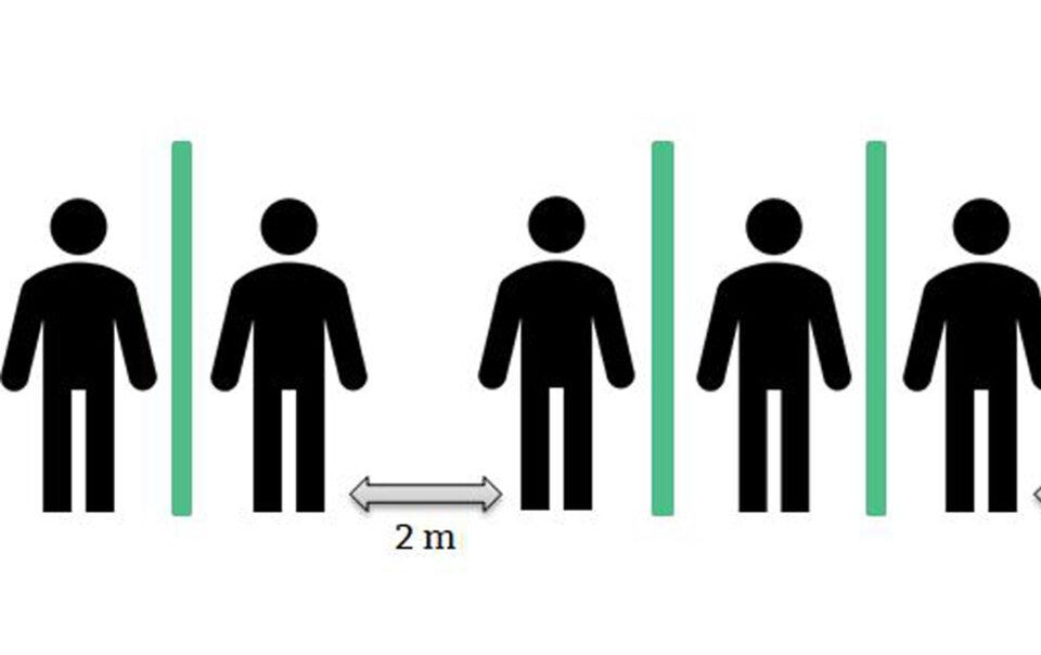 Darstellung Abstandsregeln zum Corona Infektionsschutz im Büro
