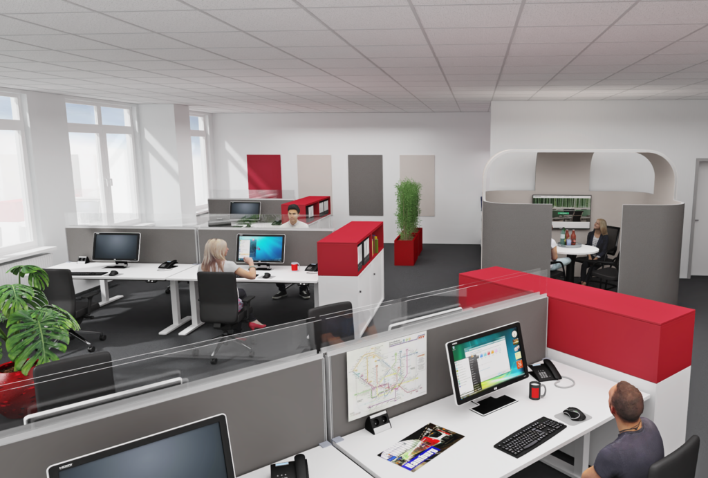 Planung Team- und Gruppenbüro als Inspiration für eine Akustiklösung mit Schallabsorber im Büro