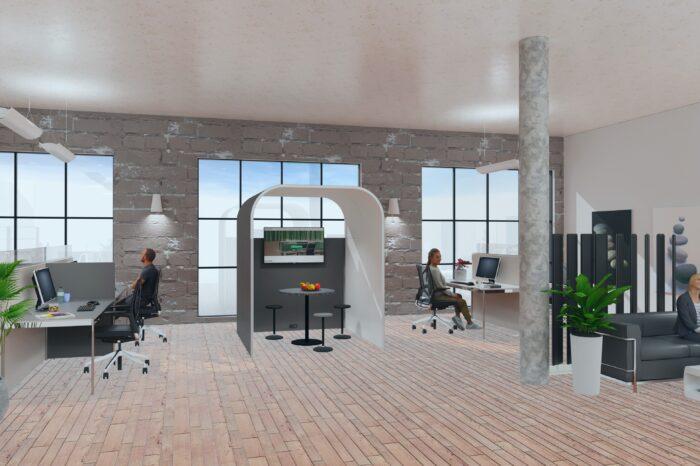Optimale Akustiklösungen von Preform für ein Team- und Gruppenbüro mit Raum in Raum Lösung Prespace Bridge
