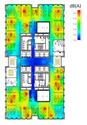 Akustiksimulation für den Schallschutz im Büro und Raumakustik verbessern zeigt akustische Herausforderung im Großraumbüro