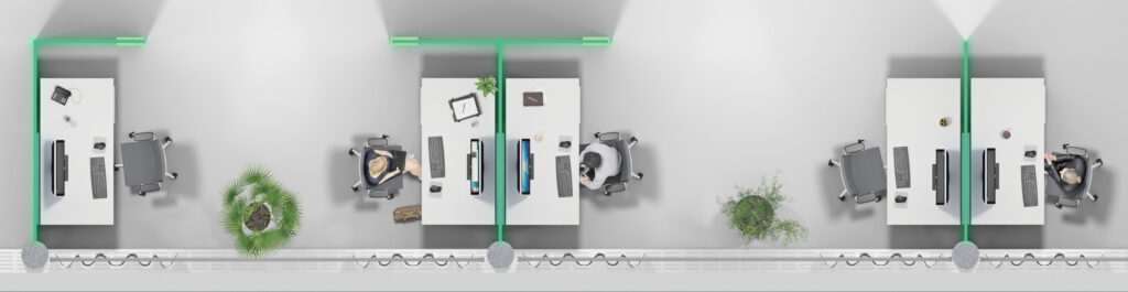 Zonierung und Flächeneffizienz im Büro mit Glas Trennwand und Schallabsorber