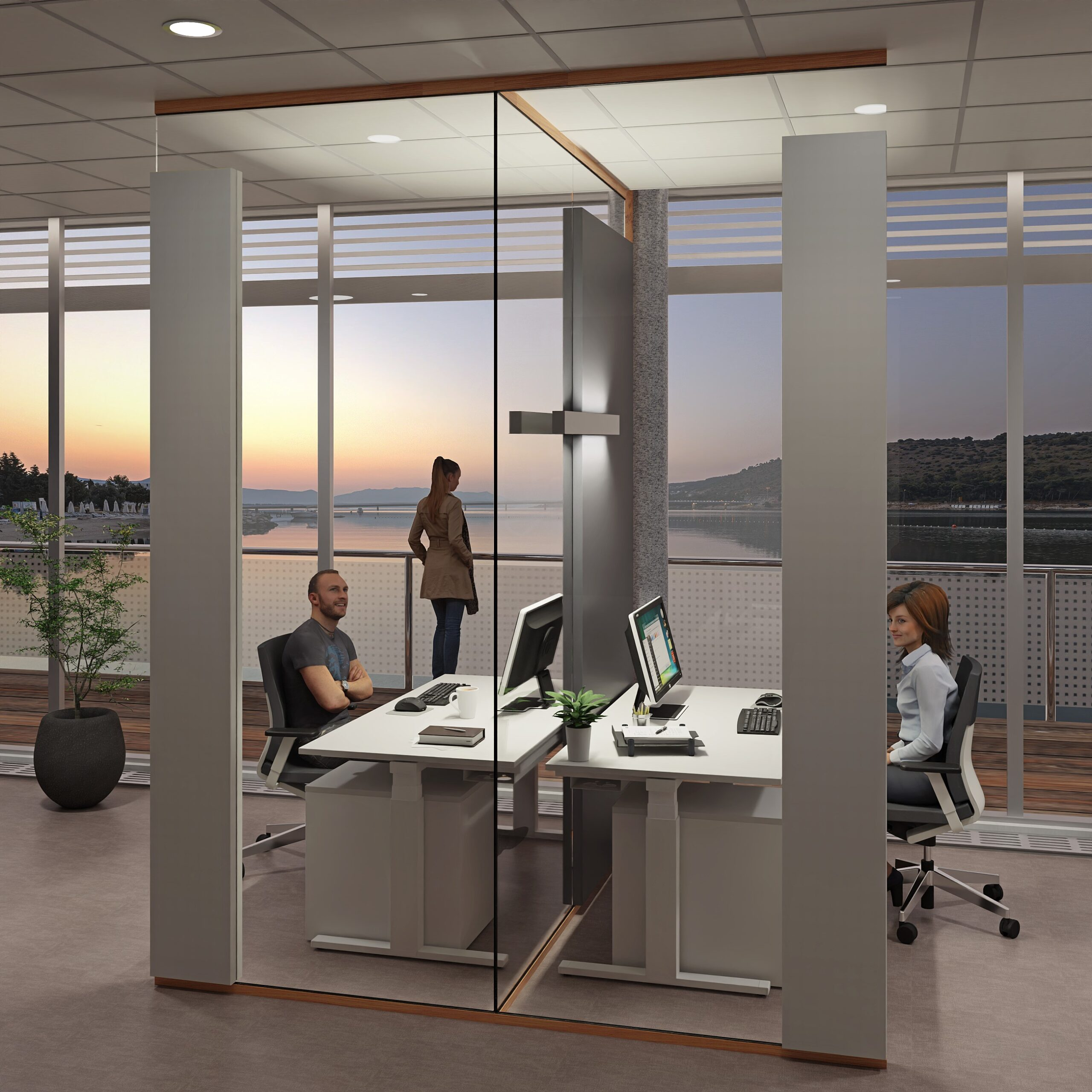 Glas Trennwand PreGlass als Akustik Trennwand in T-Position für Schallschutz im Büro in Abendszene