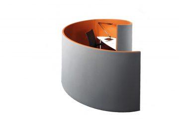 Acoustics in Motion Nautilus als Mittelzonenlösung und Raum in Raum Absorber von Preform
