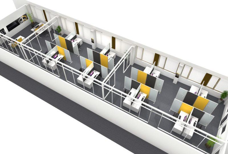 Beispiel Akustiklösung im Call Center mit individueller Raumaufteilung