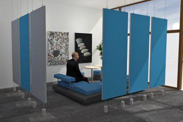 Individuelle Büroplanung mit abgehängten Raumteilern von Preform
