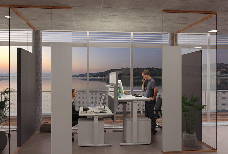 Doppelarbeitsplatz mit PreGlass Akustik Trennwand und Schallabsorber für Schalldämmung im Büro