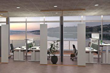 Glas Trennwand für Einzelarbeitsplätze für Schallschutz im Büro