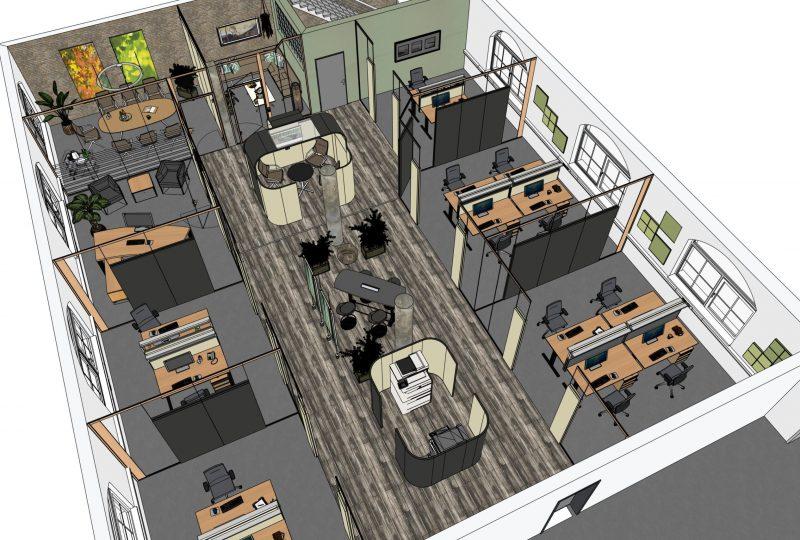 Flächeneffizientes Open Space Büro mit Akustik Trennwand, Stellwand und Kommunikationsbereich