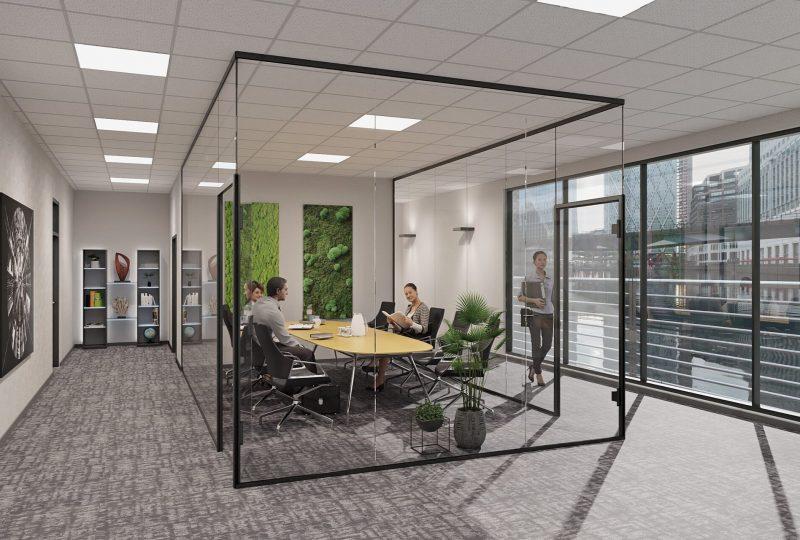 Raum in Raum System aus Glaswand für Besprechungsraum mit Moos als Schallabsorber Wand