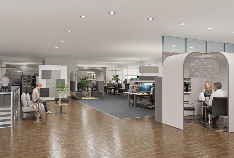 Optimale Akustiklösungen von Preform für ein Großraumbüro