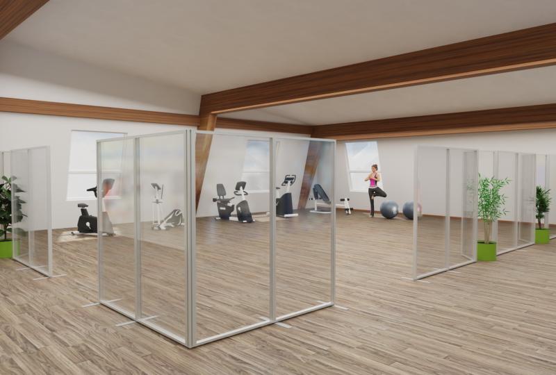 Planungsbeispiel Großraumbüro mit Stellwänden von Preform zum Corona Infektionsschutz