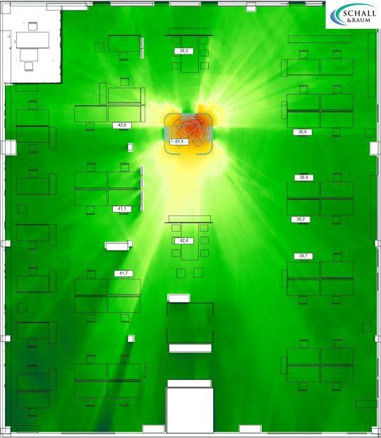 Schallsimulation Nachhallzeit mit Discreto als akustische Maßnahme für Mittelzone im Großraumbüro