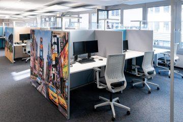Akustik Stellwand als mobile Trennwand für Schallschutz Büro